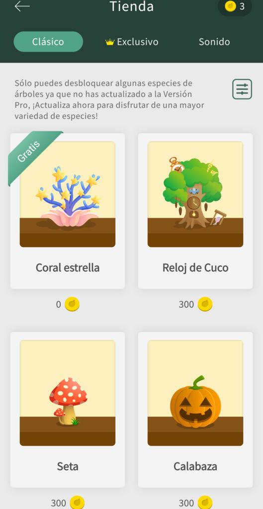 Compra de árboles en la App
